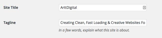 Wordpress title tagline settings